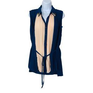 Vero Moda Classic Blouse Pleated Blue/Peach Sz M-L